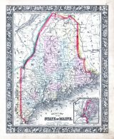 Maine, World Atlas 1864 Mitchells New General Atlas